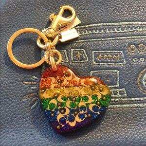 Coach key fob bag charm rainbow sparkle heart NWT